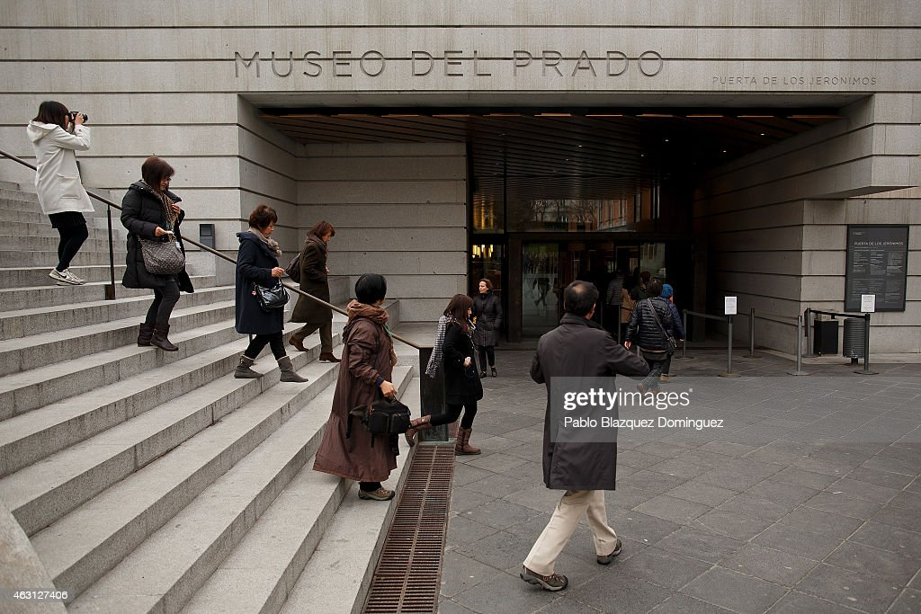 Visitors arrive to the Prado Museum on February 10 2015 in Madrid Spain The Prado Museum is running an exhibition called 'Hoy toca el Prado' which...