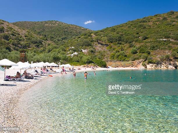 Visitors at Filiatro beach, Vathy, Ithaca, Greece