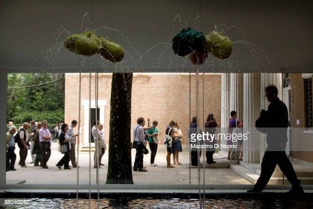 Visitors at the Bruce Nauman works during the 53rd International Art Exhibition on June 5 2009 in Venice Italy