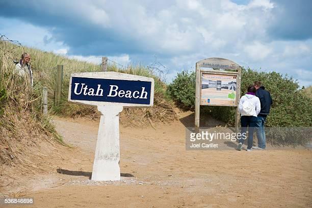 Besucher in Utah Beach in Normandie, Frankreich