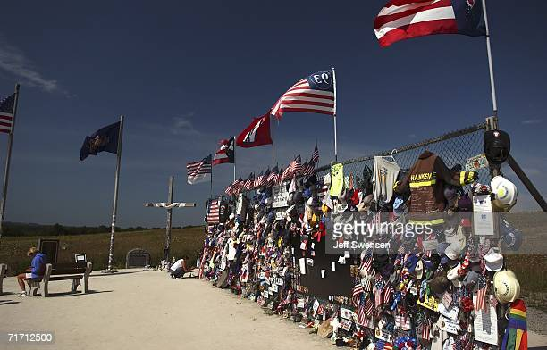 Visitors attend a Flight 93 Memorial site August 24 2006 in Shanksville Pennsylvania The memorial is situated near the Flight 93 crash site and...
