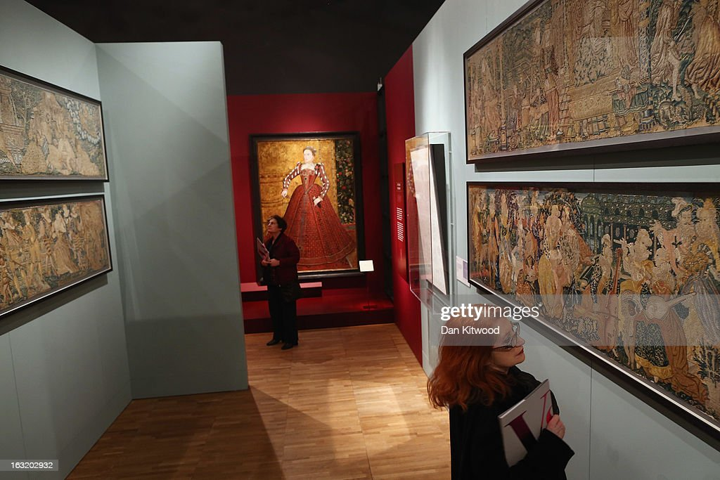 Visitors attend a press preview of the V&A's new exhibit on March 6, 2013 in London, England. The exhibition, 'Treasures of the Royal Court: Tudors, Stuarts and the Russian Tsars' examines the development of cultural diplomacy and trade between Britain and Russia from it's origins in 1555. The runs at the V&A museum until July 14, 2013.
