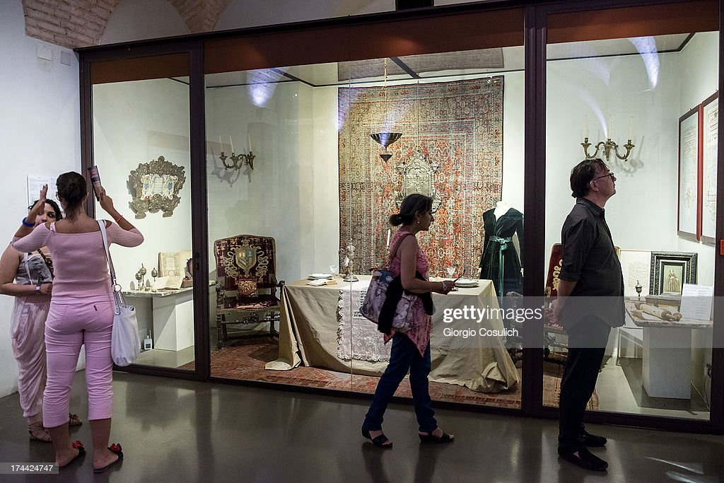 Visitors attend a tour of the Jewish Museum during the last day of the International Festival of Jewish Culture and Literature in the Ghetto district on July 25, 2013 in Rome, Italy. The sixth edition of the International Festival of Jewish Culture and Literature ended on July 25, 2013.