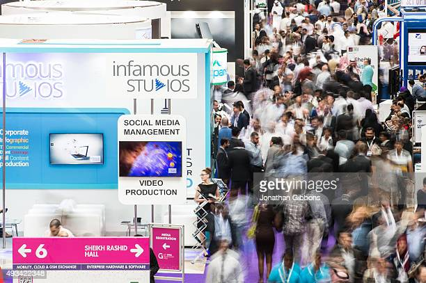 Visitors attend the 35th GITEX Technology Week at the Dubai World Trade Centre on October 20 2015 in Dubai United Arab Emirates