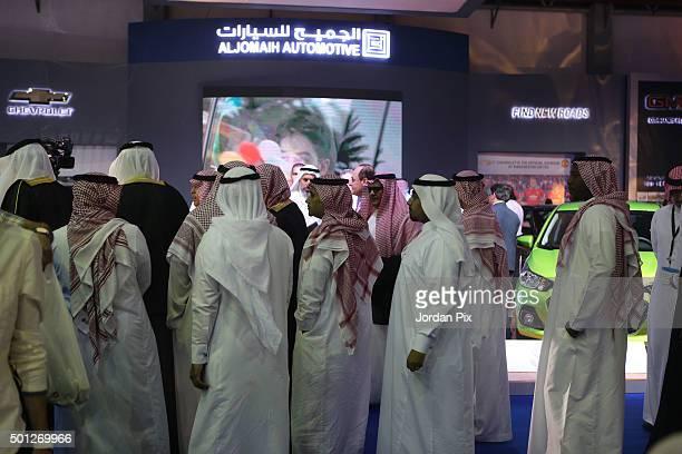 Visitors attend the 37th International Motor Show on December 13 2015 in Jeddah Saudi Arabia