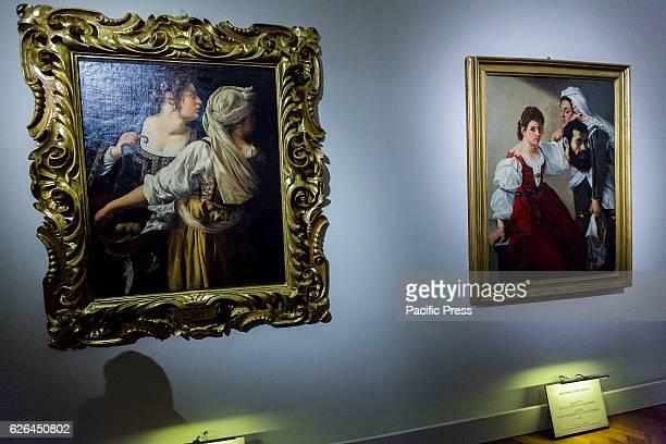 Visitors attend the 'Artemisia Gentileschi e il suo tempo' exhibition preview at Palazzo Braschi Museo di Roma in Rome Italy The exhibition opens to...