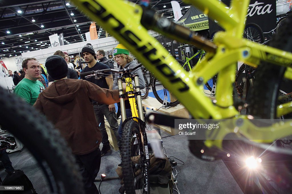 Visitors attend the London Bike Show which is being held in the ExCeL Centre on January 17, 2013 in London, England. The ExCeL centre is hosting The Outdoors Show, the London Bike Show and the Active Travel Show which run until January 20, 2013 and features manufacturer trade stalls, speeches, demonstrations and areas where visitors can climb or ride bikes.