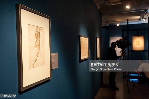Visitors attend the press preview for the 'Leonardo and Michelangelo Masterpieces of Design and Roman Studies' exhibition at the Capitoline Museums...