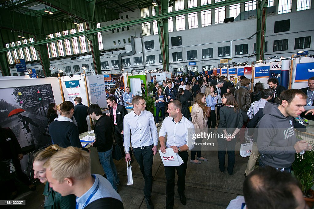 jobseekers and employers attend the connecticum job fair as the german economy grows getty images. Black Bedroom Furniture Sets. Home Design Ideas