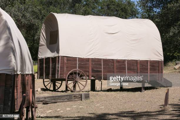 Visitors can sleep in covered wagons at Rancho Oso Resort in Santa Barbara County's backcountry as viewed on May 13 near Santa Ynez California...
