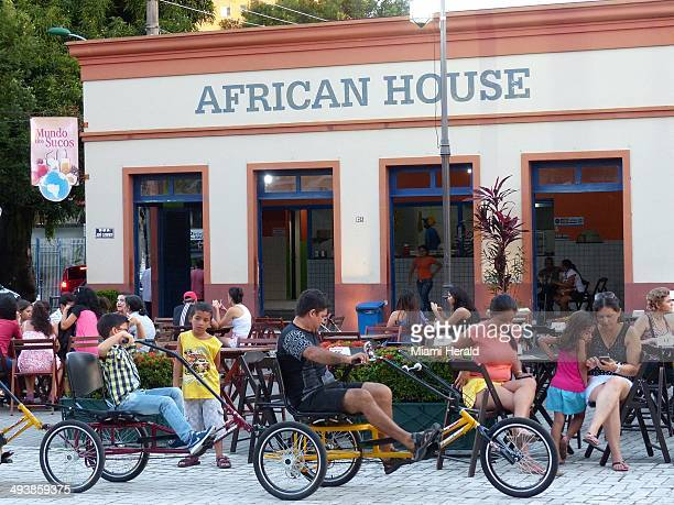 Visitors can stop by the African House for cool drinks and snacks after a bike tour in Manaus Brazil