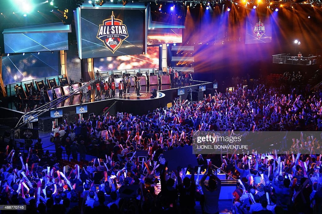 Visitors cheer for international teams during the tournament of the computer game 'League of Legends' on May 8 2014 in Paris Launched late in 2009 by...