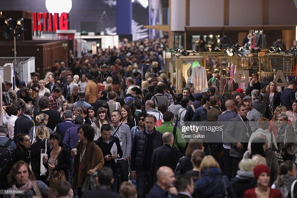 Visitors crowd the 2012 Winter Bread And Butter fashion trade fair at former Tempelhof Airport on January 18, 2012 in Berlin, Germany. Bread And Butter is a semi-annual event and is among Europe's major fashion trade fairs.