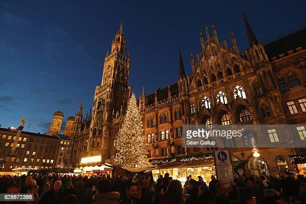 Visitors crowd the annual Christmas Market at Marienplatz square on December 9 2016 in Munich Germany Christmas markets have opened across Germany in...