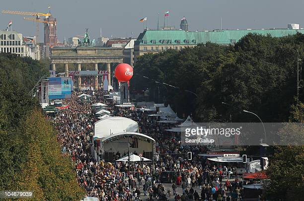 Visitors crowd the area in front of the Brandenburg Gate during celebrations marking the 20th anniversary of German reunification on October 3 2010...