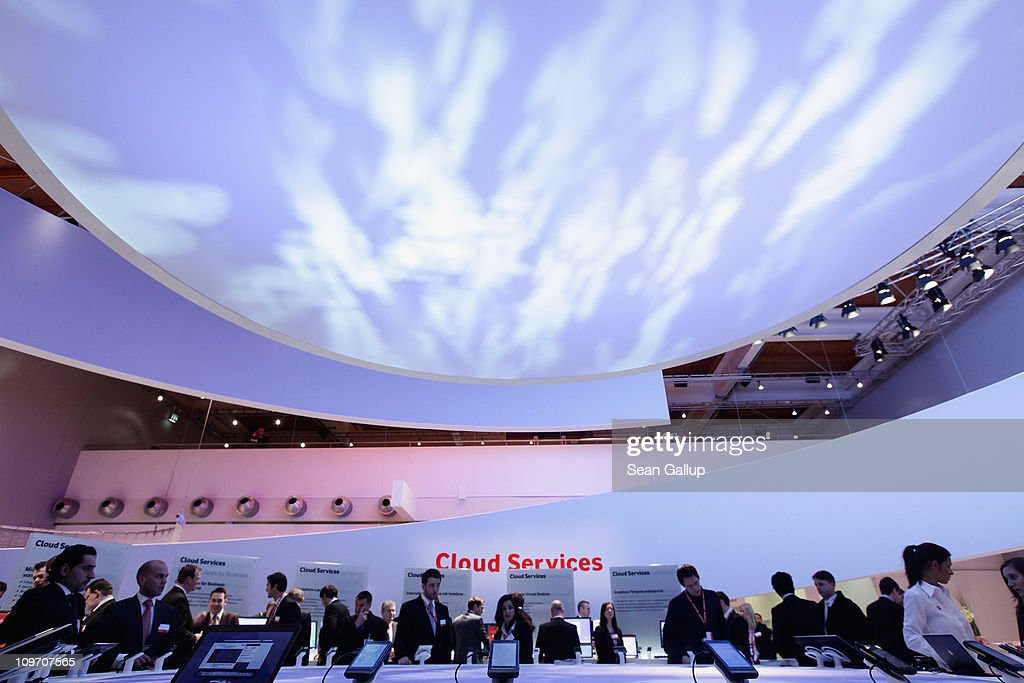 Visitors crowd the cloud computing presentation at the Vodafone stand at the CeBIT technology trade fair on March 2, 2011 in Hanover, Germany. CeBIT 2011 will be open to the public from March 1-5.