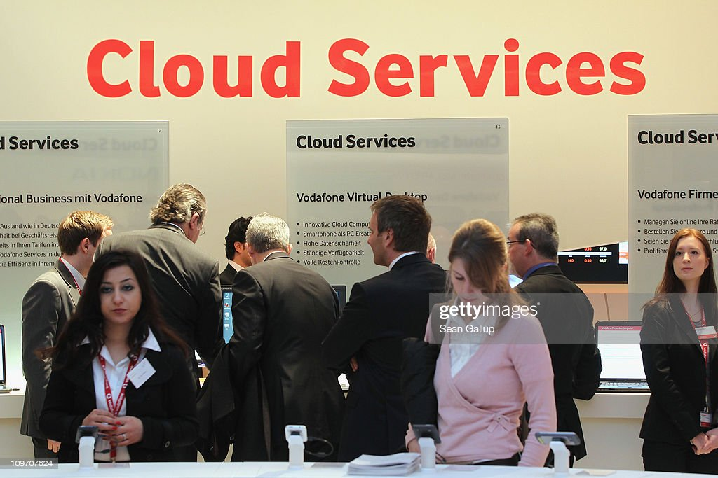 Visitors crowd the cloud computing services presentation at the Vodafone stand at the CeBIT technology trade fair on March 2, 2011 in Hanover, Germany. CeBIT 2011 will be open to the public from March 1-5.