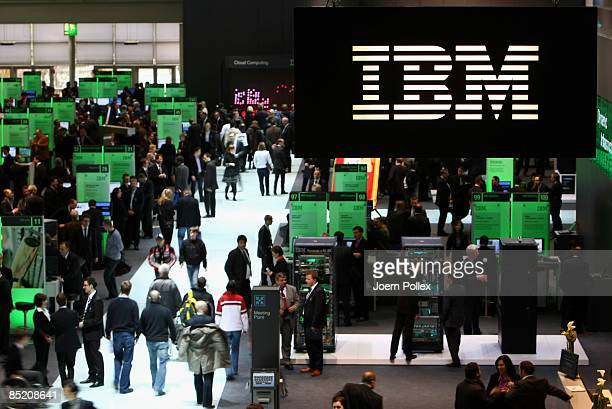 Visitors crowd the IBM stand at the 2009 CeBIT technology trade fair on March 3 2009 in Hanover Germany CeBIT the world's largest computer and IT...