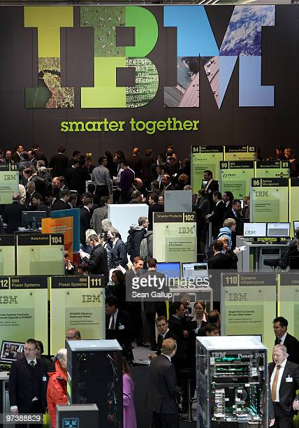 Visitors crowd the IBM stand under the IBM logo at the CeBIT Technology Fair on March 3 2010 in Hannover Germany CeBIT will be open to the public...
