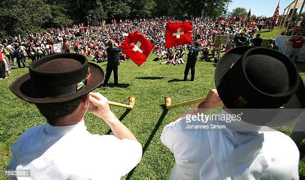 Visitors crowd the Ruetli meadow during the Ruetli celebrations on August 1 near Luzern Switzerland Every year the reenactment of the forming of the...