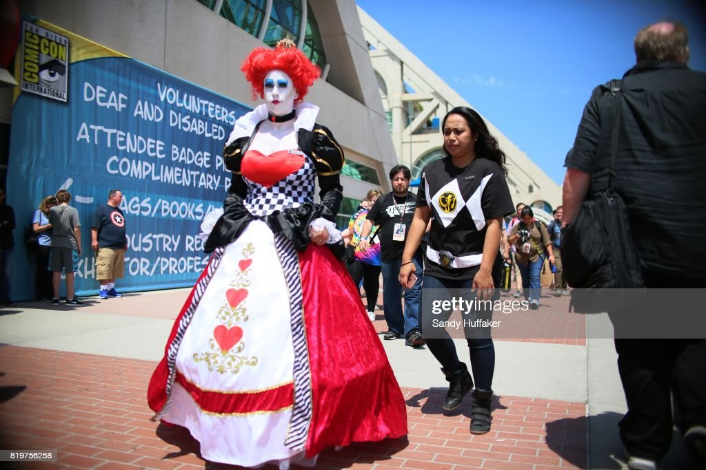 Visitors dressed in Cosplay costumes walk along the San Diego Convention Center during Comic Con International on July 20, 2017 in San Diego, California. Comic Con International is North America's largest Comic convention featuring pop culture and entertainment elements across virtually all genres, including horror, animation, anime, manga, toys, collectible card games, video games, webcomics, and fantasy novels as well as movie premieres and actor panels.