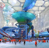 Visitors enjoy swimming in the newly relaunch National Aquatics Center better known as the Water Cube in Beijing on August 8 2010 Adults have to pay...