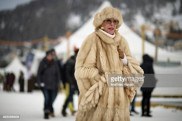Visitors enjoy the White Turf St Moritz on February 8 2015 in St Moritz Switzerland