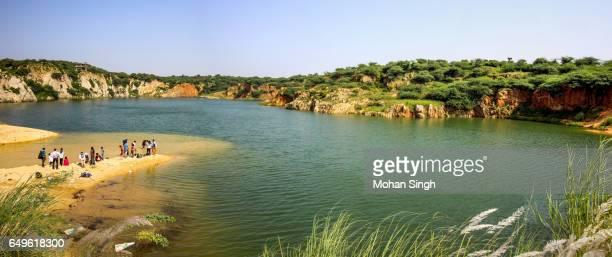 Visitors enjoying at Bharadwaj Lake in Asola Bhatti Wildlife Sanctuary, Delhi
