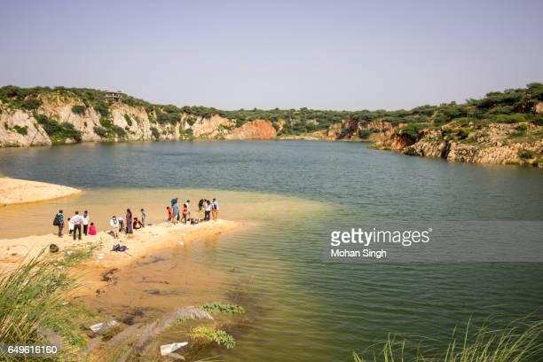 Visitors enjoying at Bhardwaj Lake, Asola Wild Life Sanctuary, Asola