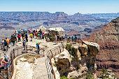 Tourists at viewpoint, South Rim, Grand Canyon National Park, Arizona, USA
