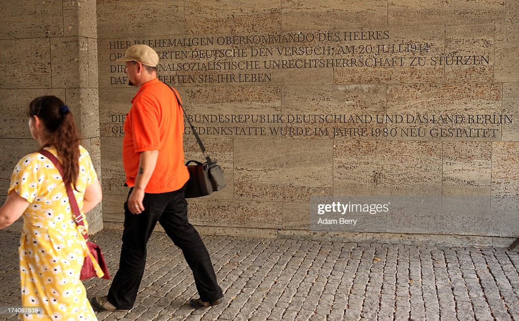 Visitors enter a memorial to the planners of the 1944 assassination attempt on Adolf Hitler on the 69th anniversary of the failed mission on July 20, 2013 in Berlin, Germany. The leaders of the conspiracy, including Claus Schenk Graf von Stauffenberg, were shot in the courtyard, and the site has been used as a memorial to German resistance during World War II.