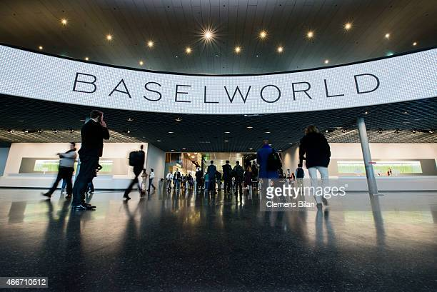 Visitors enter the Baselworld 2015 on March 18 2015 in Basel Switzerland