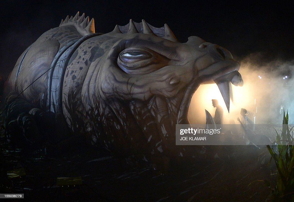 Visitors enter the Beast in a Cornfield during the Halloween Harvest Festival at Pierce Farm on October 30, 2012 in Woodland Hills, California.
