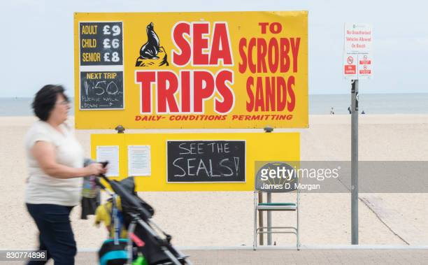 Visitors experience different food outlets on August 12 2017 in Great Yarmouth England A cloudy overcast day greeted visitors to the Norfolk seaside...
