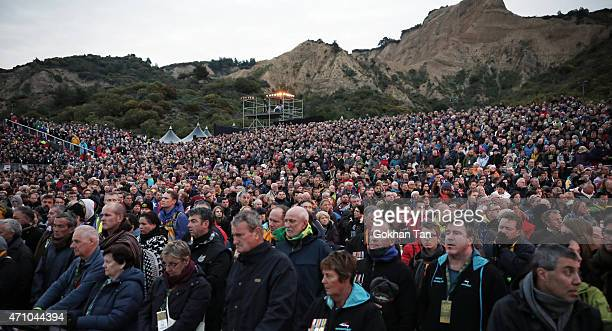 Visitors from Australia and New Zealand attend a dawn ceremony marking the 100th anniversary of the Battle of Gallipoli at Anzac Cove on April 25...