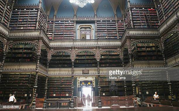 Visitors gather inside the historic Royal Portuguese Reading Room January 13 2015 in Rio de Janeiro Brazil The reading room constructed between 1880...