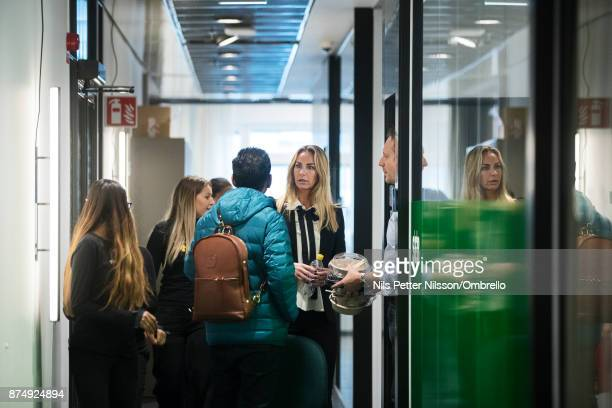 Visitors gather outside the SEB Greenhouse lounge during the Sime Awards at Epicenter on November 16 2017 in Stockholm Sweden