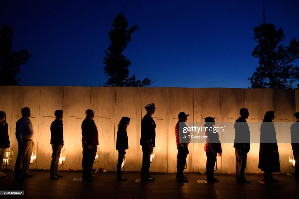 Visitors gather to pay respects during the Flight 93 National MemorialÕs annual Luminaria on the eve of 16th Anniversary ceremony of the September 11th terrorist attacks, September 10, 2017 in Shanksville, PA. United Airlines Flight 93 crashed into a field outside Shanksville, PA with 40 passengers and 4 hijackers aboard on September 11, 2001.