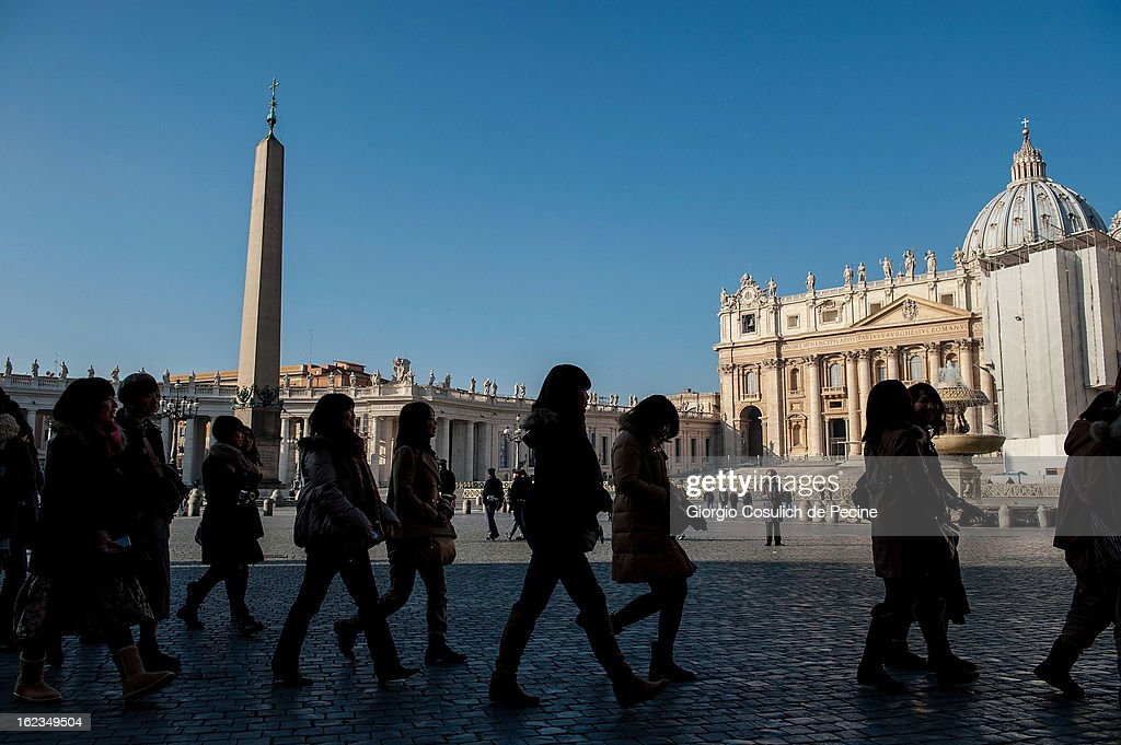 Visitors gather to St. Peters' Square on February 19, 2013 in Vatican City, Vatican. Pope Benedict XVI will hold his last weekly public audience on February 27 at St Peter's Square after announcing his resignation earlier last week.