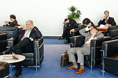 Visitors have a break on day 2 of the Mobile World Congress on February 23 2016 in Barcelona Spain The annual Mobile World Congress hosts some of the...