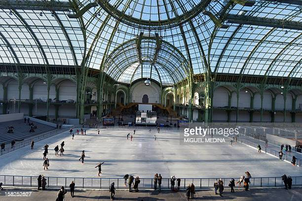 Visitors iceskate on a giant rink hosted in the glassroofed central hall of the Grand Palais on December 12 2012 in Paris At 1800 square metres in...