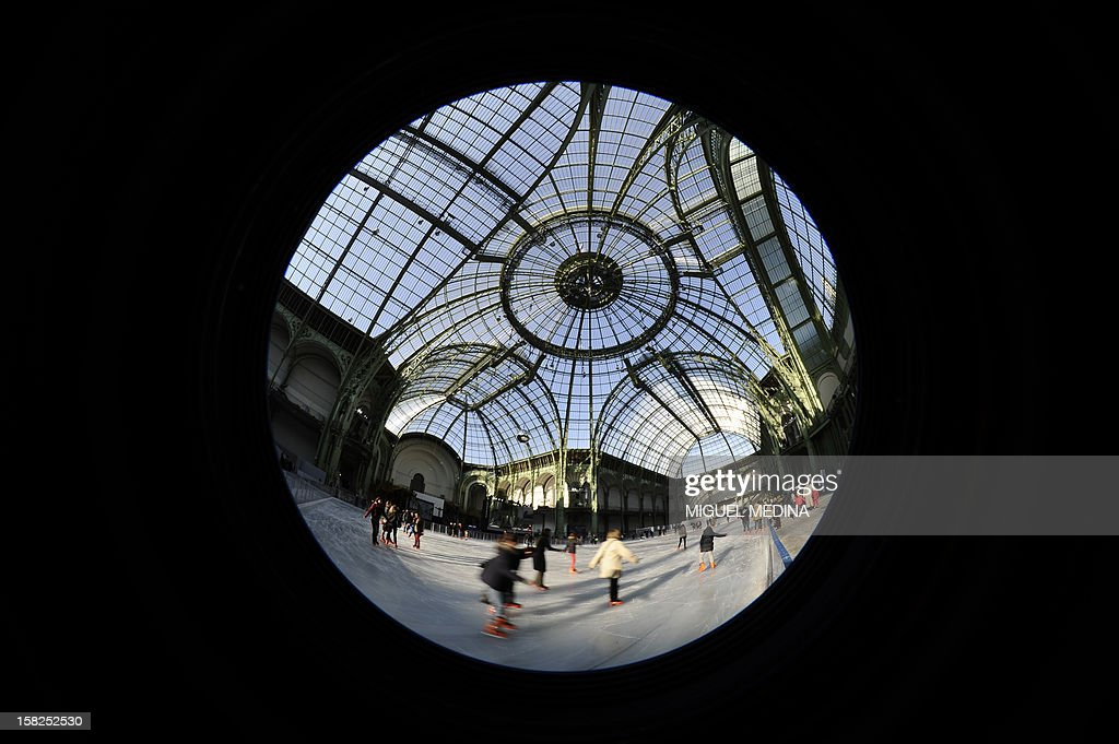 Visitors ice-skate on a giant rink hosted in the glass-roofed central hall of the Grand Palais on December 12, 2012 in Paris. At 1,800 square metres in size, it's the largest rink ever created in France.
