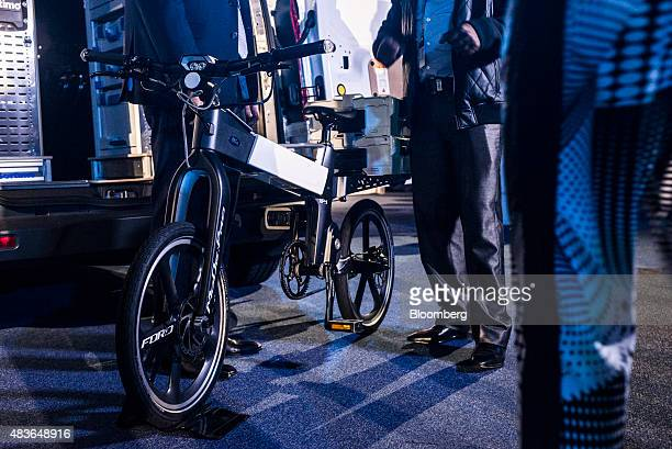Me foldable electric ebike on display during the Ford Motor Co 'Go Further' event at the Sandton Convention Center in Johannesburg South Africa on...