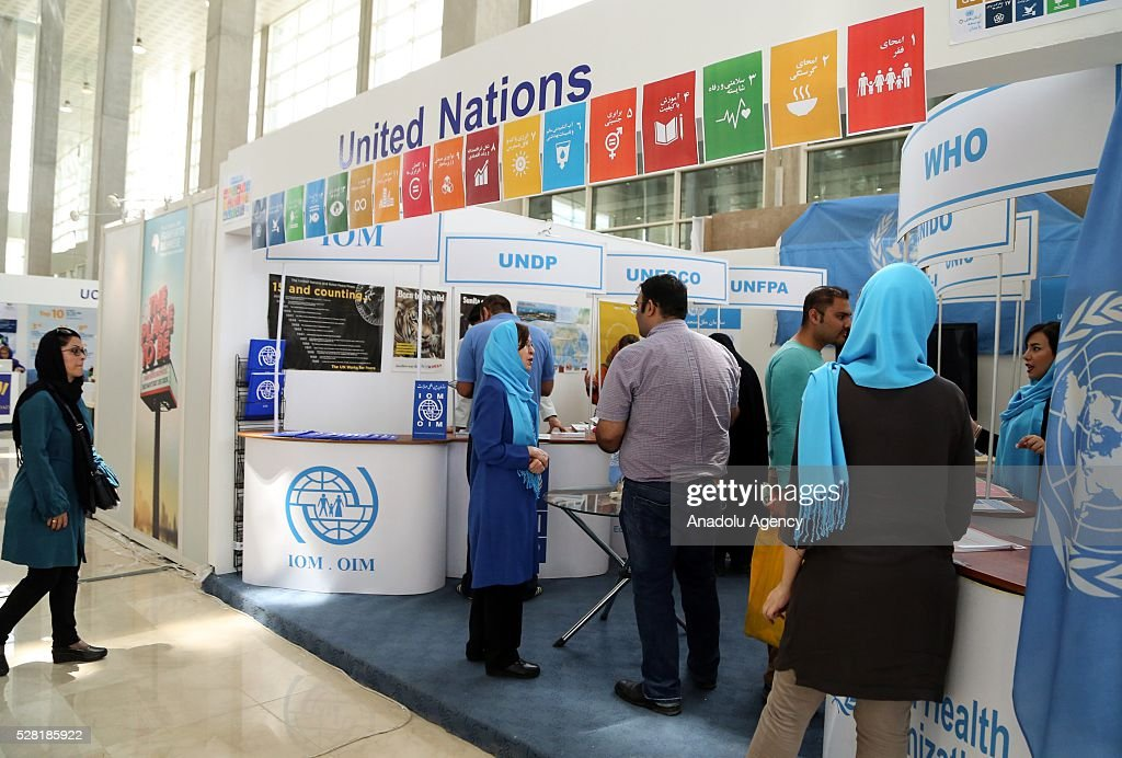 Visitors inspect fair booths during 29th International Tehran Book Fair themed 'Tomorrow is late to read' at the Sun City Fair Complex in Tehran, Iran on May 4, 2016.