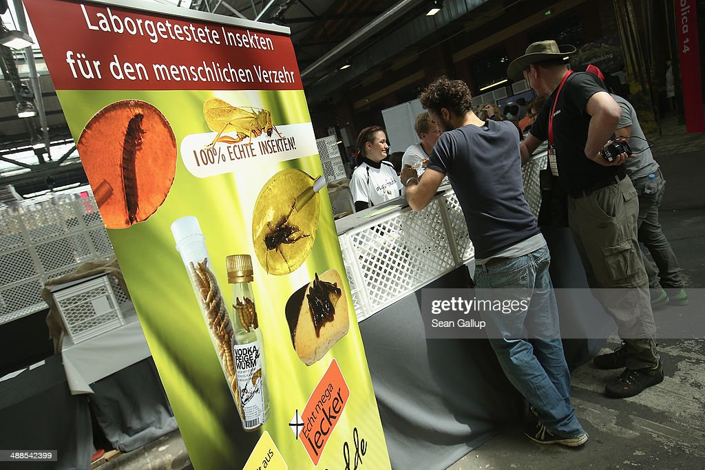 Visitors inspect packaged insects at the booth of a retailer selling edible insects for human consumption at the 2014 re:publica conferences on digital society on May 6, 2014 in Berlin, Germany. Advocates seeking to promote insects as food for people see insects as a major and cheap source of protein and a necessary means to fight global hunger. The conference brings together bloggers, developers, human rights activists and others to discuss the course of the digital future. Re:publica will run until May 8.