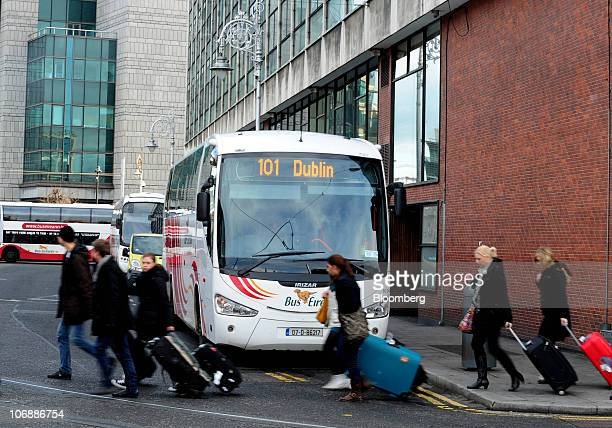 Visitors leave the bus station in Dublin Ireland on Monday Nov15 2010 European Central Bank Vice President Vitor Constancio said Ireland would be...