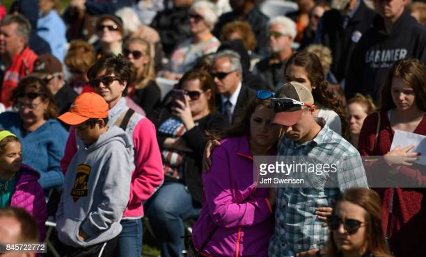 Visitors listen to speakers at the Flight 93 National Memorial on the 16th Anniversary ceremony of the September 11th terrorist attacks September 11...
