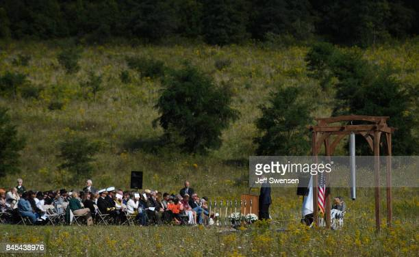 Visitors listen to speakers at the groundbreaking of the Tower Of Voices at the Flight 93 National Memorial on the 16th Anniversary ceremony of the...