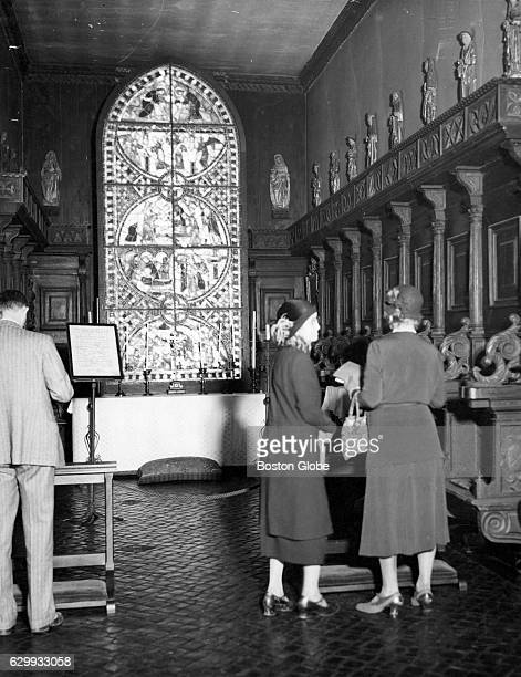 Visitors look around the chapel room in the Isabella Stewart Gardner Museum in Boston on April 6 1932