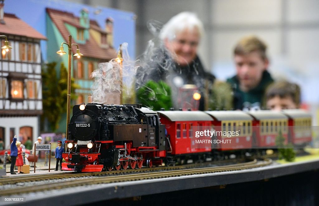 Visitors look at a model railway on display at the 'Erlebniswelt Modellbau' model making fair on February 12, 2016 in Erfurt, eastern Germany. The fair is running until February 14, 2016. / AFP / dpa / Martin Schutt / Germany OUT